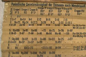 The large and extremely fragile periodic table was contained in a stash of rolled up teaching charts