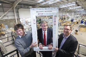 L to R: Martin Smith and Robert McKnight of Scotia Double Glazing with Scott Webb, UKSE. Picture: Jeff Holmes