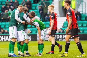 Hibs' Daryll Horgan celebrates after scoring to make it 2-0. Pic: SNS/Ian Georgeson