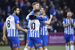 Kilmarnock's Stuart Findlay (centre) celebrates his goal. Pic: SNS/Rob Casey