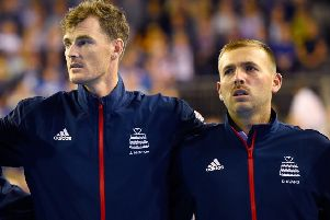 Jamie Murray (left) and Dan Evans pictured together in September last year. Murray has slammed Evans' comments about doubles players. Picture: PA