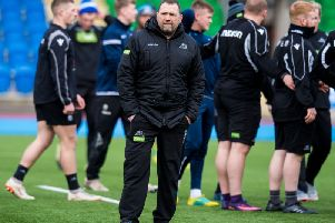 Glasgow Warriors' assistant coach Jonathan Humphreys helps prepare the team for Friday's Pro14 clash with Ospreys. Picture: Ross Parker/SNS
