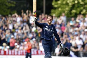 Calum MacLeod celebrates his century against England. Picture: SNS Group