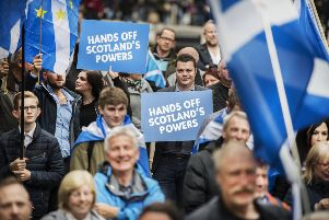 A pro-independence march heads through Glasgow in July 2018. Picture: John Devlin