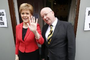SNP leader Nicola Sturgeon with her husband Peter Murrell. Picture: Danny Lawson/PA Wire