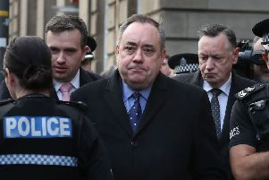 Alex Salmond leaves Edinburgh Sheriff Court yesterday
