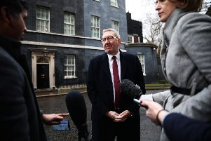 Unite leader Len McCluskey interviews outside No.10 after urging Theresa May to extend Article 50                                          by three months. Picture: Getty