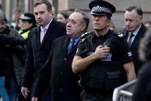 Former first minister Alex Salmond outside Edinburgh Sheriff Court on Thursday. Picture: SNS