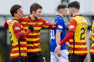 Partick Thistle's Joe Cardle(L) celebrates his goal with Aidan Fitzpatrick. Pic: SNS/Roddy Scott