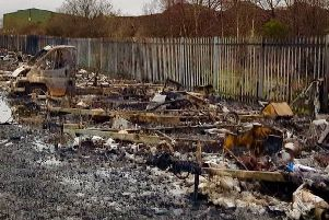 Aftermath of fire at City Farm Caravan Storage. Pic: Peter Baird