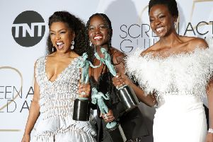 """Angela Basset, Lupita Nyong'o and Danai Gurira, Winners of Outstanding Performance by a Cast in a Motion Picture for """"Black Panther"""". (Photo by Sarah Morris/Getty Images)"""