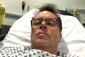 Nicky Campbell was admitted to hospital in Salford on Monday night after becoming unwell. Picture: Twitter/@NickyAACampbell