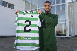 Celtic's new signing Jeremy Toljan is unveiled after joining on deadline day. Picture: SNS