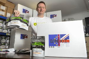 James Blake of Leeds based Emergency Food Storage UK who are selling a 'Brexit Box' which contains tins and packets of dried food