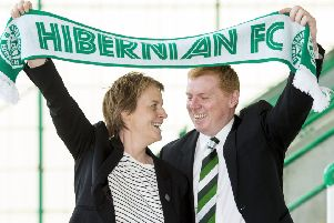 Neil Lennon joined Leeann Dempster at his unveiling as Hibernian manager