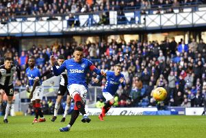 Rangers captain James Tavernier converts from the spot. Pic: SNS/Rob Casey