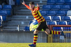 Partick Thistle's Aidan Fitzpatrick doubles the lead for his side. Pic: SNS/Bruce White