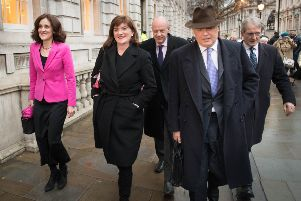 Theresa Villiers, Nicky Morgan, Damian Green, Iain Duncan Smith and Owen Paterson leave the Cabinet Office in Westminster on Monday. Picture: Stefan Rousseau/PA Wire