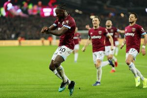 West Ham United's Michail Antonio indulges in a Gangnam Style celebration after drawing his team level against  Liverpool. Picture: Getty.