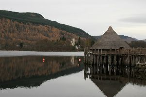 A replica Iron Age crannog on Loch Tay close to where the fragment of instrument was found. PIC: Creative Commons/Flickr/Jenni Douglas.