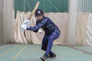 Scotland batsman Calum MacLeod in the nets as the squad prepare for their trip to Oman to face the hosts, Netherlands and Ireland. Picture: Donald MacLeod