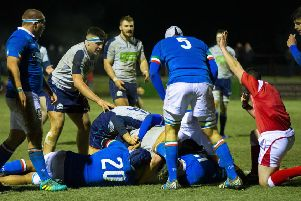 Scotland's Charlie Jupp scores a try in the U20 international against Italy in Galashiels. Picture: Bruce White/SNS