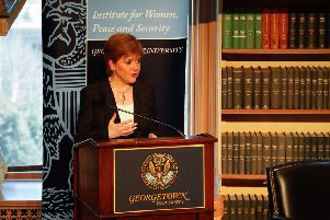 First Minister Nicola Sturgeon addresses an audience on 'Scotland, Brexit and the Future' as part of Georgetown's Institute for Women, Peace and Security's Women World Leaders Week.