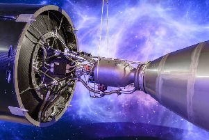 Orbex have released images of the 3-D printed engine in their new Prime rocket, which has been unveiled as the spaceflight company opened a headquarters and rocket design facility in the Highlands. Picture: Orbex/PA Wire