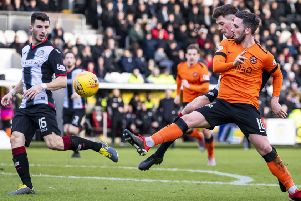 Dundee United's Nicky Clark doubles his side's lead. Pic: SNS/Roddy Scott