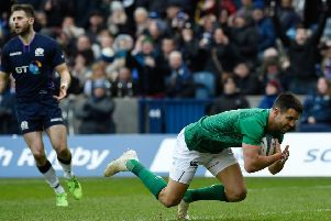 Ireland's Conor Murray scores his side's first try of the game. Pic: Ian Rutherford/PA Wire