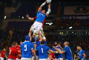 Sebastian Negri da Ollegio of Italy claims the ball in the lineout against Wales. Picture: Michael Steele/Getty Images