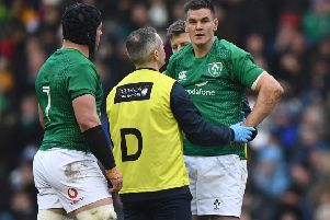 Ireland's Johnny Sexton is assesed for an injury. Picture: Stu Forster/Getty Images