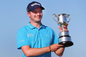 David Law shows off the trophy after winning the ISPS Handa Vic Open. Picture: Getty Images