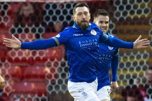 Stephen Dobbie celebrates his 38th goal of the season for Queens. Picture: SNS Group