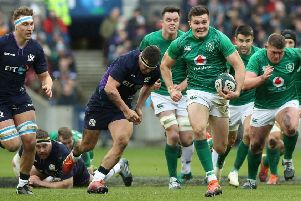 Jacob Stockdale breaks clear to score Ireland's second try during their gritty Guinness Six Nations win over Scotland at BT Murrayfield. Picture: David Rogers/Getty Images