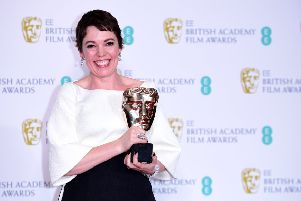 Olivia Colman with her Best Actress in a Leading Role Bafta for The Favourite. Pictures: PA