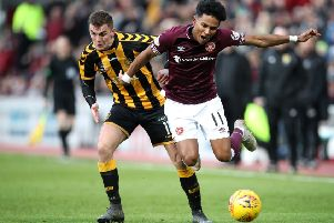 Hearts' on-loan left-back Demetri Mitchell has suffered an identical injury to the one he sustained last February which kept him out for eight weeks. Picture: Getty.