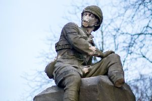 The sandstone sculpture commemorates the officers and men of the Highland Light Infantry who were killed in South Africa. The memorial was badly damaged by vandals this week. Picture: John Devlin