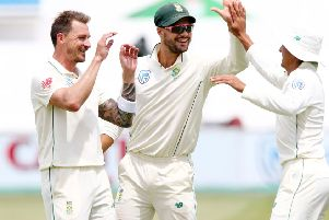 South Africa's Dale Steyn, left, Aiden Markram and Zubayr Hamza. Photo: Getty Images