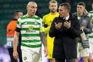 Celtic captain Scott Brown and manager Brendan Rodgers at full-time. Picture: SNS