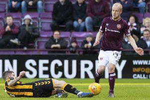 Hearts attacker Steven Naismith is out of contract at the end of the season. Picture: SNS