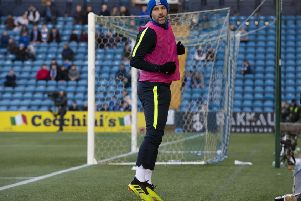 Kris Boyd warms up during Kilmarnock's Ladbrokes Premiership clash with Celtic at Rugby Park. Picture: SNS Group