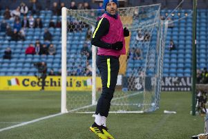 Kris Boyd warms up for Kilmarnock in front of Celtic fans. Picture: SNS/Alan Harvey