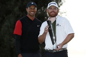 J.B. Holmes shows off the Genesis Open trophy after his triumph in an event hosted by Tiger Woods. Picture: AP