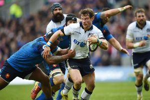 Peter Horne made a fine impression at stand-off for Scotland against France  three years ago