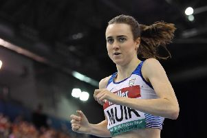 Laura Muir sets a new British record for the mile in Birmingham on Saturday.