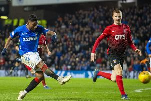 Alfredo Morelos thumps home his hat-trick strike to make it 4-0 to Rangers on a night where the Colombian was unstoppable. Picture: SNS