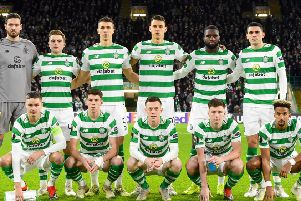 Celtic line up ahead of a Europa League group match. Picture: SNS Group