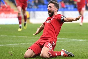 Aberdeen's Graeme Shinnie celebrates. Pic: SNS/Craig Williamson