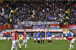 Rangers fans in the away end at the Hope CBD Stadium. Picture: SNS